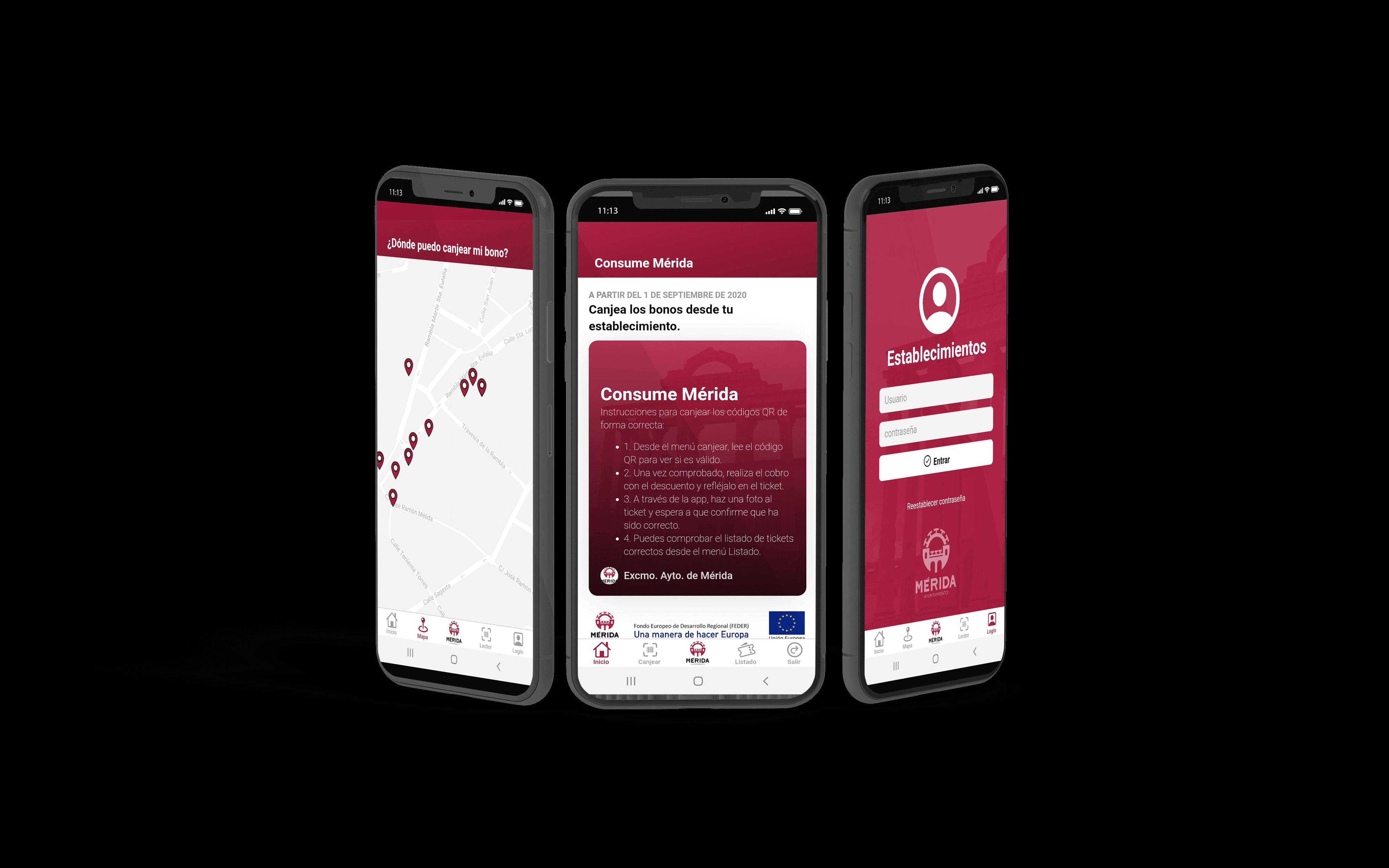 Capturas de pantalla de la funcionalidad de la App de Consume Mérida